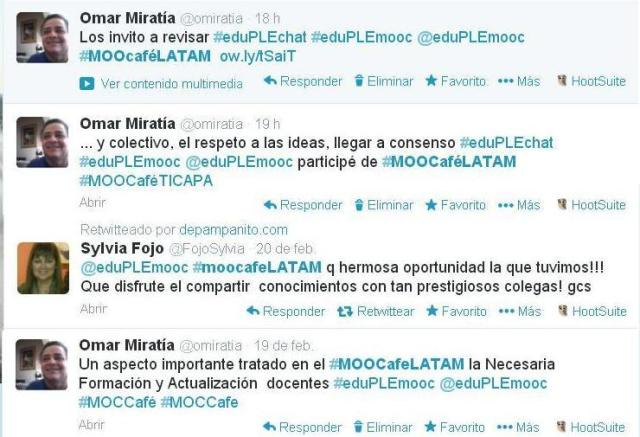 Figura 7. Mensajes de Twitter finales Twitter Finales de #MOOCAféLATAM